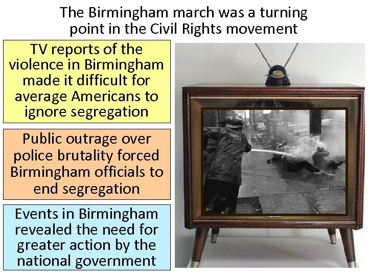 The Birmingham march was a turning point in the Civil Rights movement TV reports