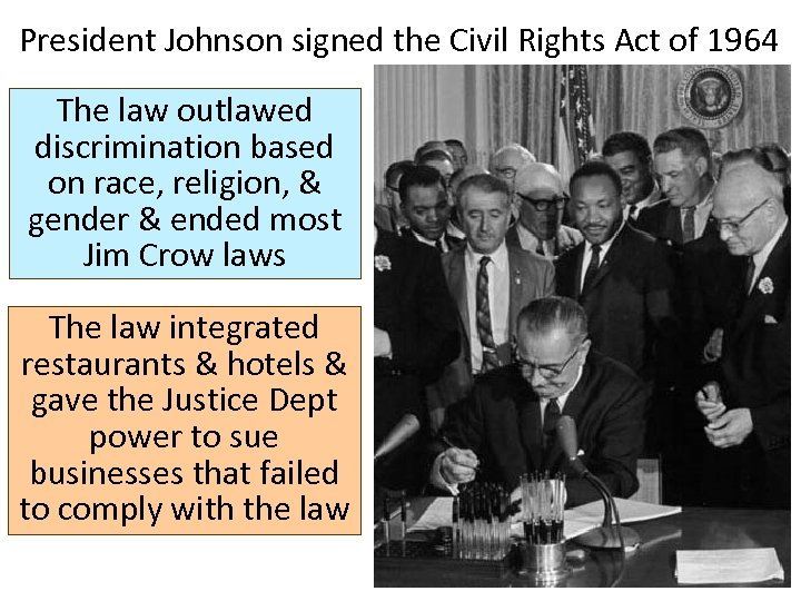 President Johnson signed the Civil Rights Act of 1964 The law outlawed discrimination based