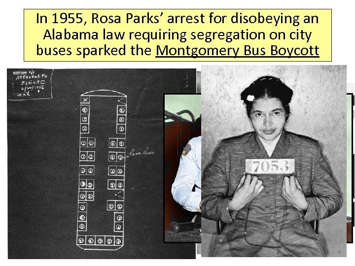 In 1955, Rosa Parks' arrest for disobeying an Alabama law requiring segregation on city