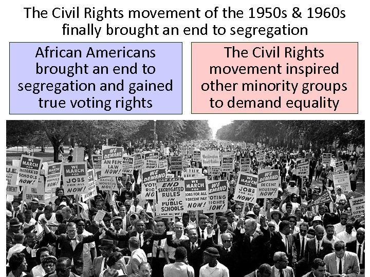 The Civil Rights movement of the 1950 s & 1960 s finally brought an