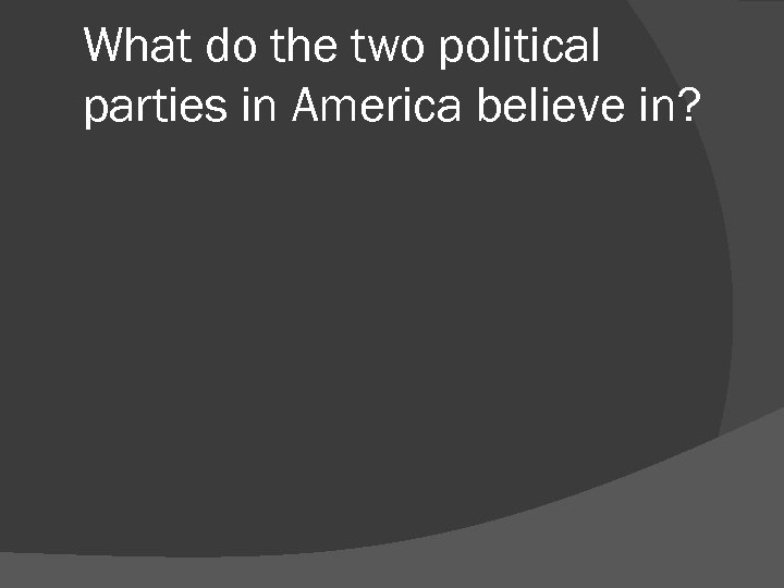 What do the two political parties in America believe in?