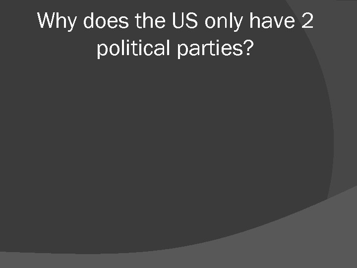 Why does the US only have 2 political parties?