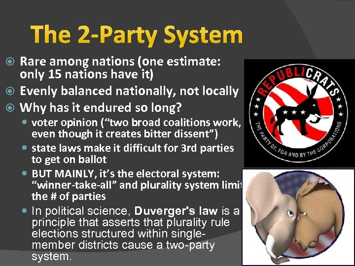The 2 -Party System Rare among nations (one estimate: only 15 nations have it)