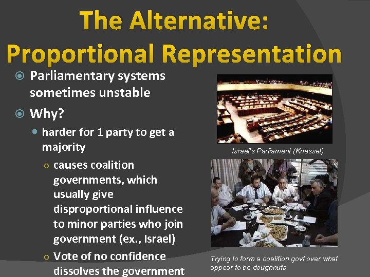 The Alternative: Proportional Representation Parliamentary systems sometimes unstable Why? harder for 1 party to