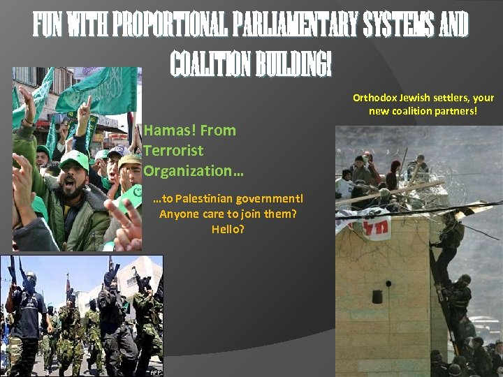 FUN WITH PROPORTIONAL PARLIAMENTARY SYSTEMS AND COALITION BUILDING! Orthodox Jewish settlers, your new coalition