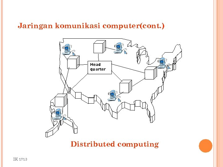 Jaringan komunikasi computer(cont. ) Head quarter Distributed computing IK 1713