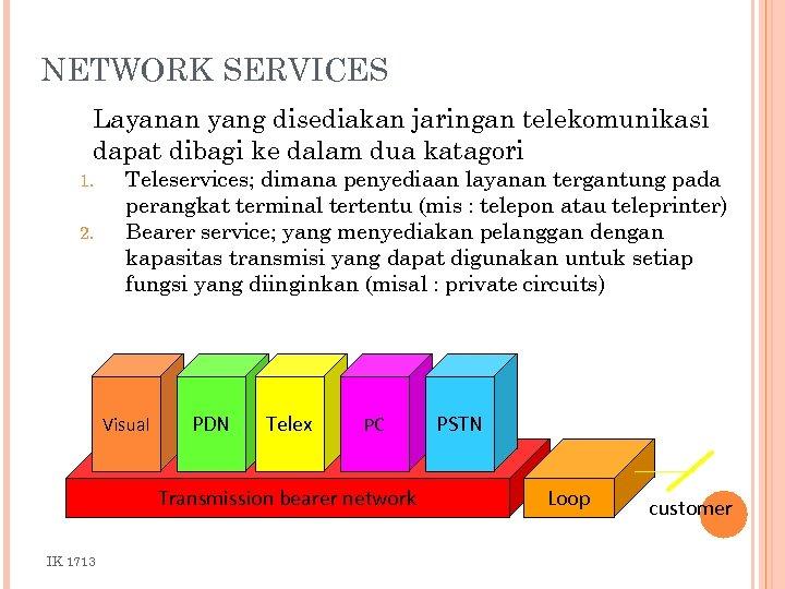 NETWORK SERVICES Layanan yang disediakan jaringan telekomunikasi dapat dibagi ke dalam dua katagori 1.