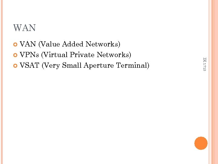 WAN VAN (Value Added Networks) VPNs (Virtual Private Networks) VSAT (Very Small Aperture Terminal)