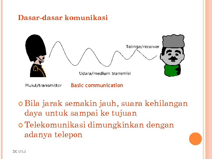 Dasar-dasar komunikasi Basic communication Bila jarak semakin jauh, suara kehilangan daya untuk sampai ke