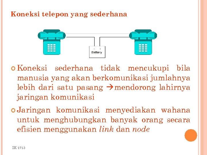 Koneksi telepon yang sederhana Koneksi sederhana tidak mencukupi bila manusia yang akan berkomunikasi jumlahnya