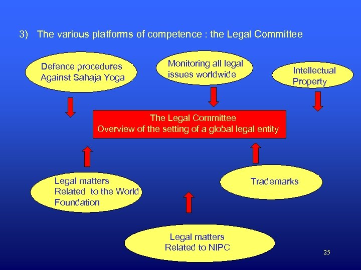 3) The various platforms of competence : the Legal Committee Defence procedures Against Sahaja