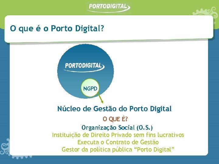 O que é o Porto Digital? NGPD Núcleo de Gestão do Porto Digital O