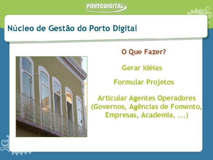 Núcleo de Gestão do Porto Digital O Que Fazer? Gerar Idéias Formular Projetos Articular