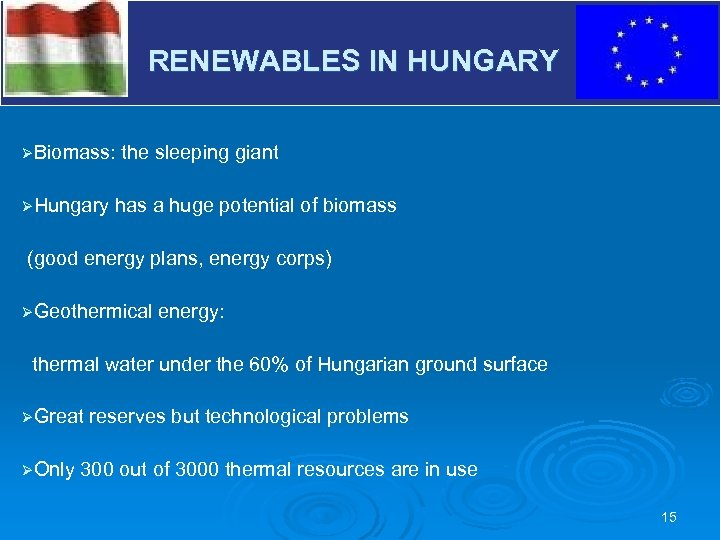 RENEWABLES IN HUNGARY V ØBiomass: ØHungary the sleeping giant has a huge potential of