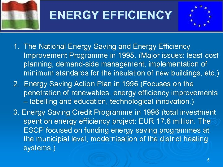 V ENERGY EFFICIENCY 1. The National Energy Saving and Energy Efficiency Improvement Programme in