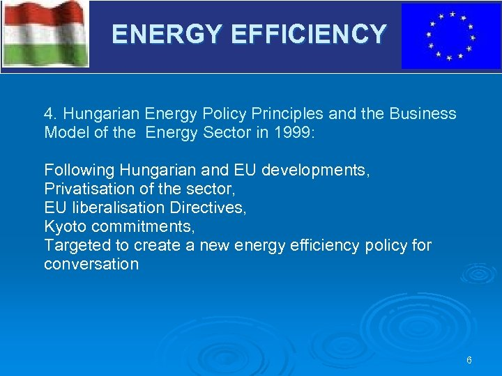 V ENERGY EFFICIENCY 4. Hungarian Energy Policy Principles and the Business Model of the