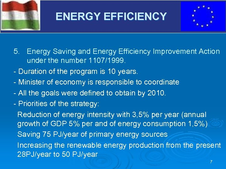 V ENERGY EFFICIENCY 5. Energy Saving and Energy Efficiency Improvement Action under the number