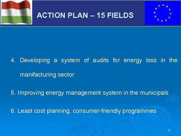 V ACTION PLAN – 15 FIELDS 4. Developing a system of audits for energy