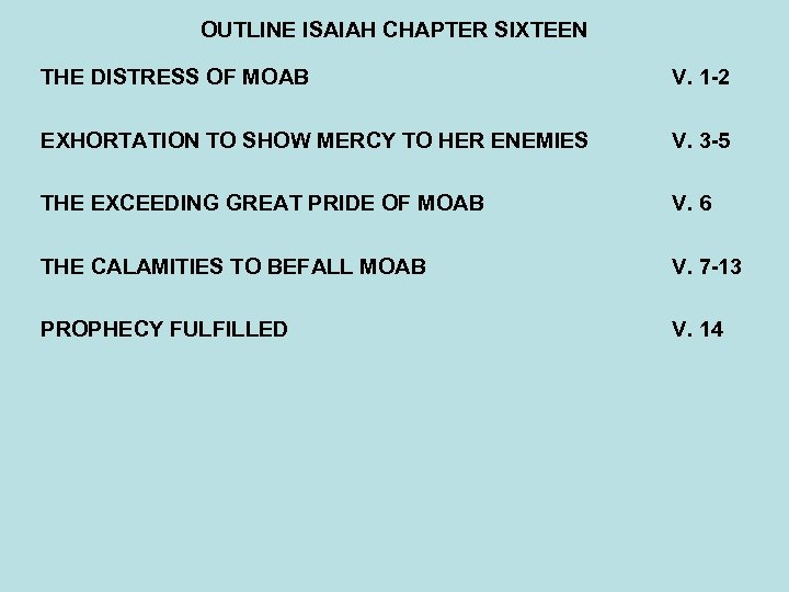 OUTLINE ISAIAH CHAPTER SIXTEEN THE DISTRESS OF MOAB V. 1 -2 EXHORTATION TO SHOW