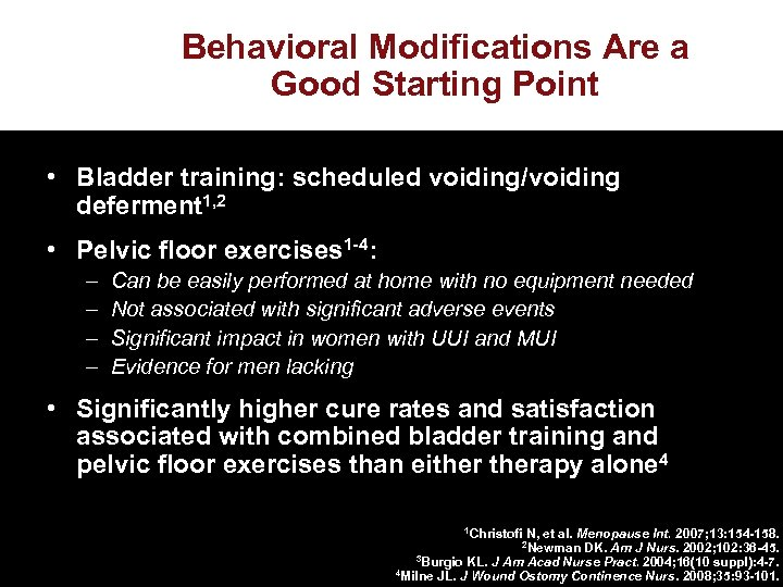 Behavioral Modifications Are a Good Starting Point • Bladder training: scheduled voiding/voiding deferment 1,