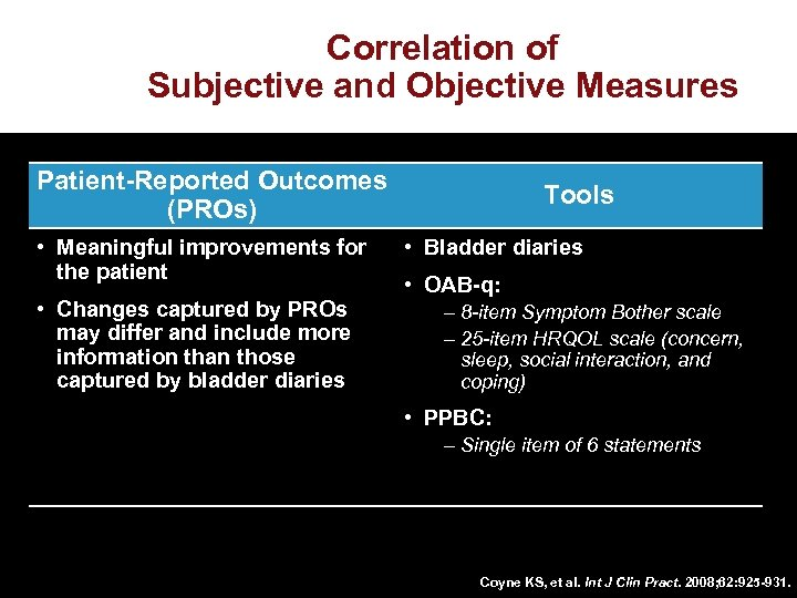 Correlation of Subjective and Objective Measures Patient-Reported Outcomes (PROs) • Meaningful improvements for the