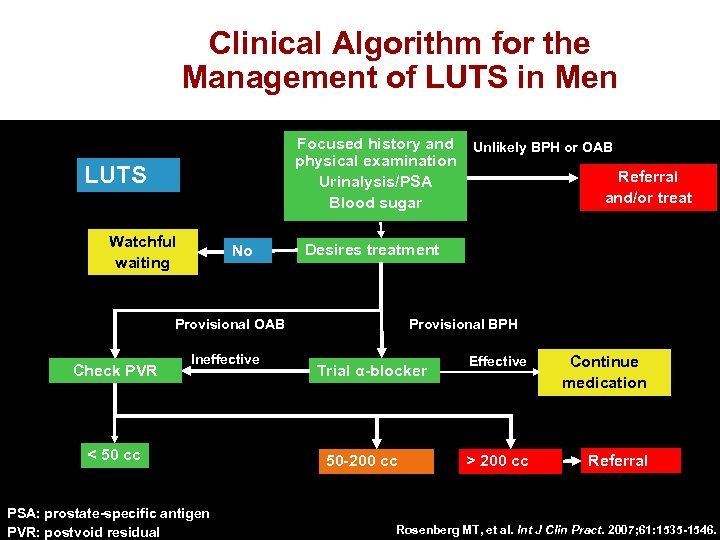 Clinical Algorithm for the Management of LUTS in Men Focused history and Unlikely BPH