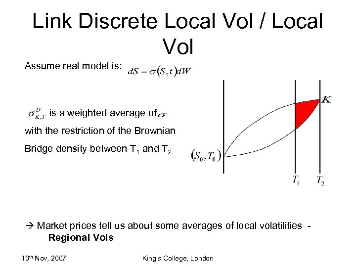 Link Discrete Local Vol / Local Vol Assume real model is: is a weighted