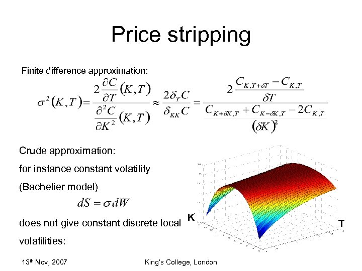 Price stripping Finite difference approximation: Crude approximation: for instance constant volatility (Bachelier model) does