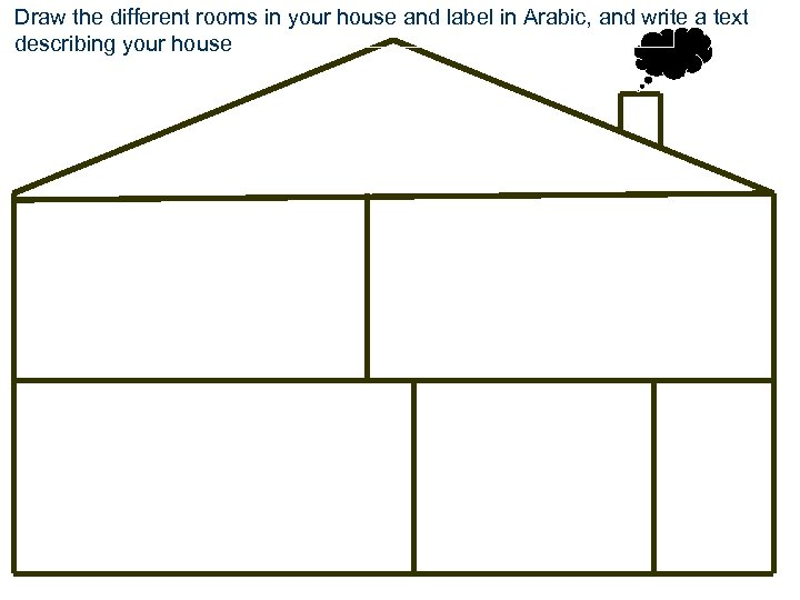 Draw the different rooms in your house and label in Arabic, and write a