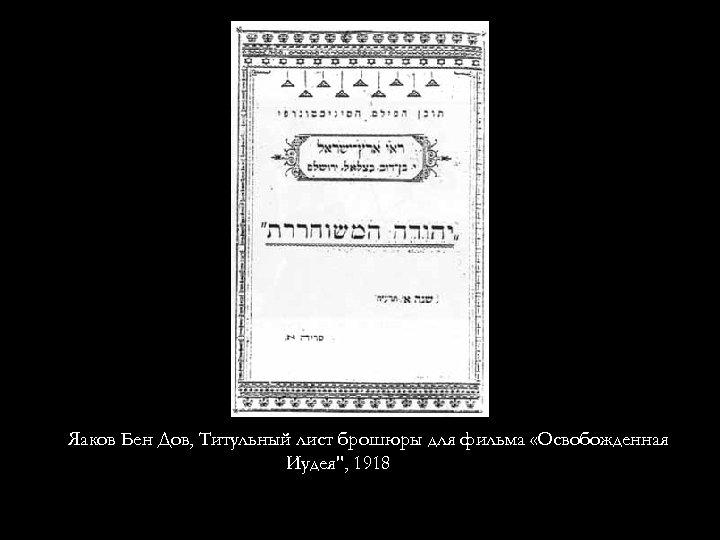Яаков Бен Дов, Титульный лист брошюры для фильма «Освобожденная Иудея