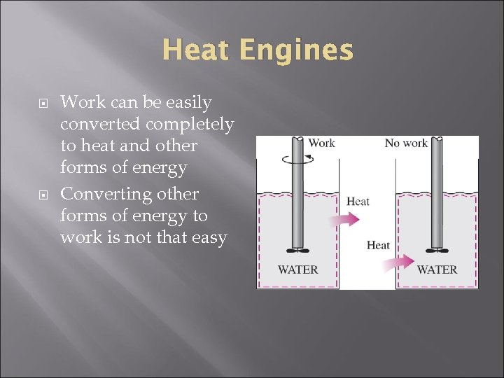 Heat Engines Work can be easily converted completely to heat and other forms of