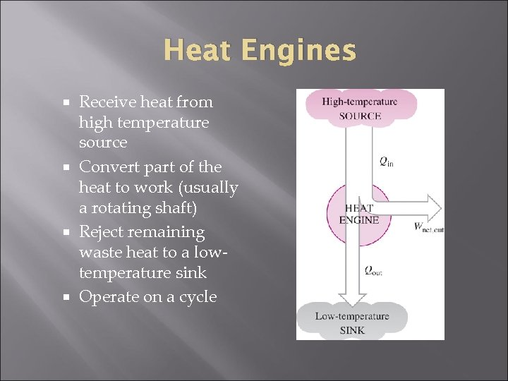 Heat Engines Receive heat from high temperature source Convert part of the heat to