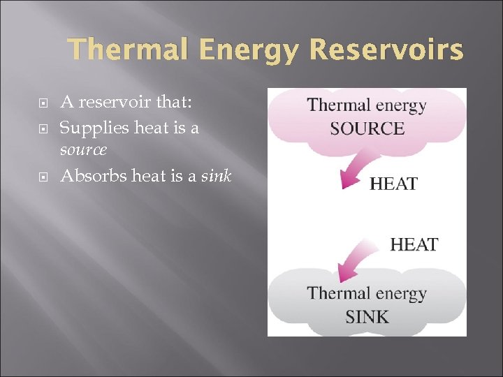 Thermal Energy Reservoirs A reservoir that: Supplies heat is a source Absorbs heat is