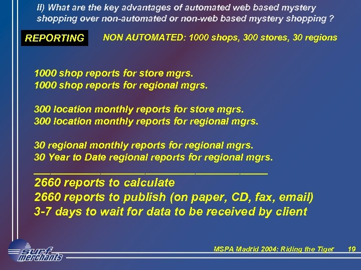 II) What are the key advantages of automated web based mystery shopping over non-automated