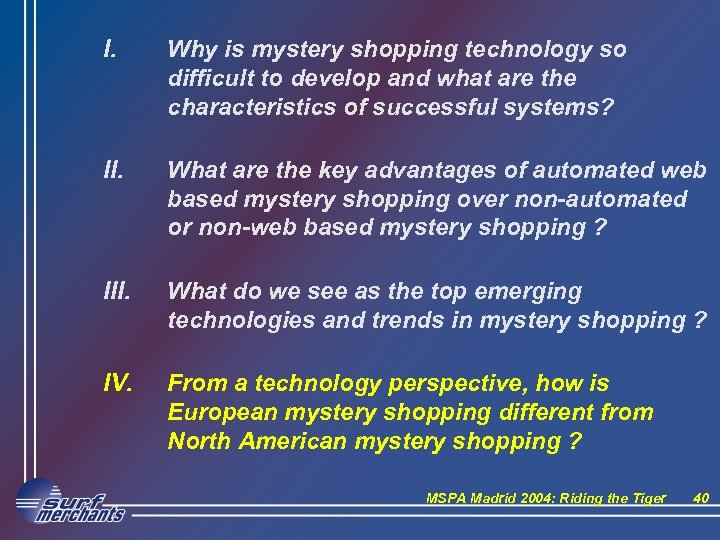 I. Why is mystery shopping technology so difficult to develop and what are the