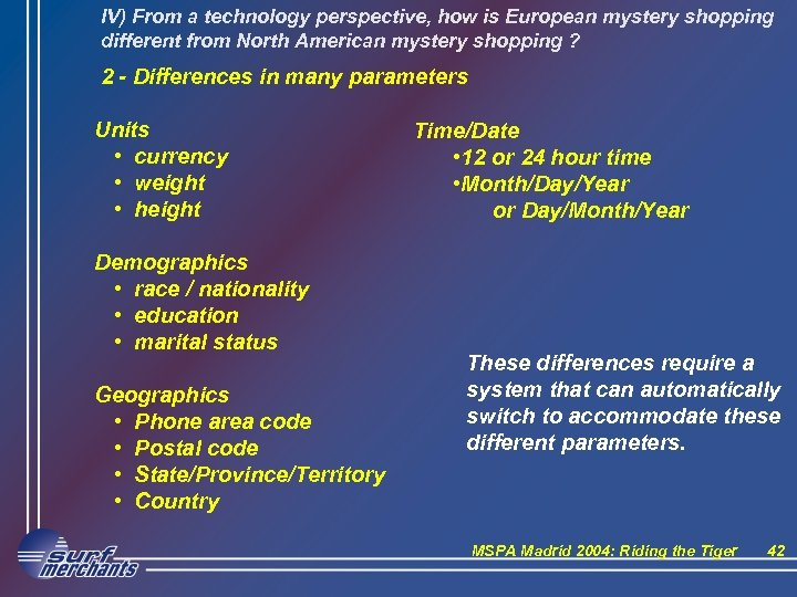 IV) From a technology perspective, how is European mystery shopping different from North American