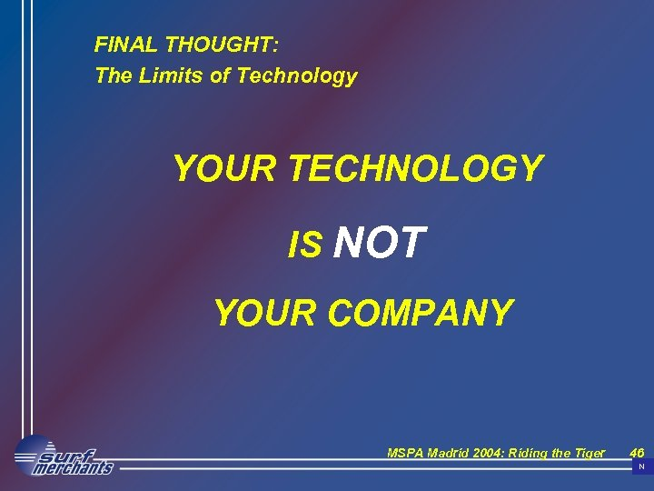 FINAL THOUGHT: The Limits of Technology YOUR TECHNOLOGY IS NOT YOUR COMPANY MSPA Madrid