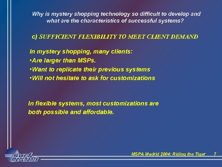 Why is mystery shopping technology so difficult to develop and what are the characteristics