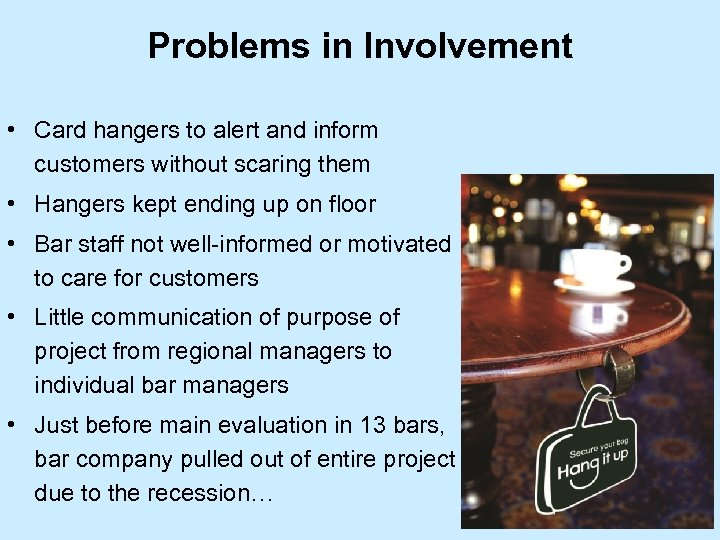 Problems in Involvement • Card hangers to alert and inform customers without scaring them