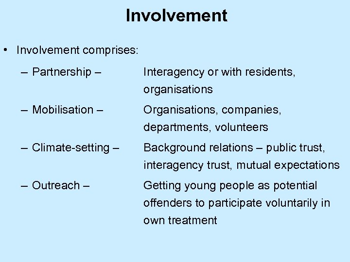Involvement • Involvement comprises: – Partnership – Interagency or with residents, organisations – Mobilisation
