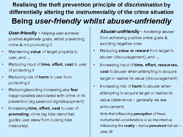 Realising theft prevention principle of discrimination by differentially altering the instrumentality of the crime