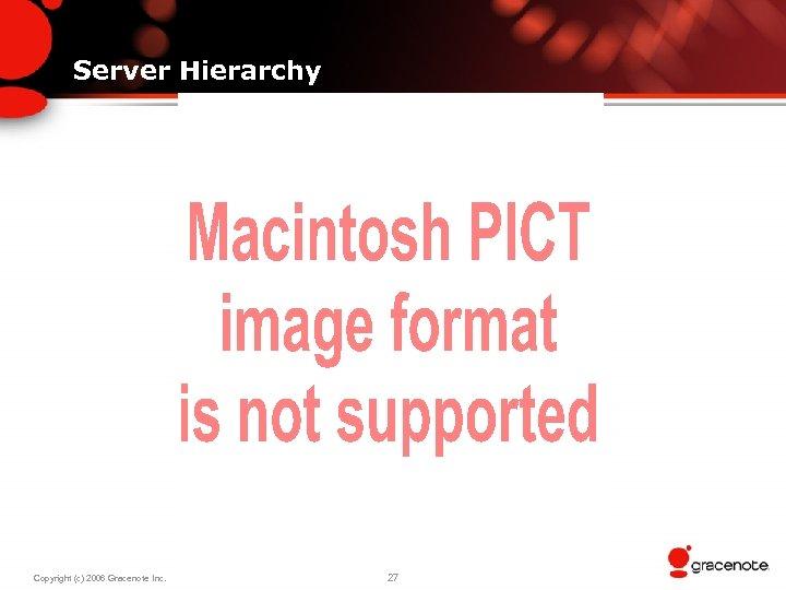 Server Hierarchy Copyright (c) 2006 Gracenote Inc. 27