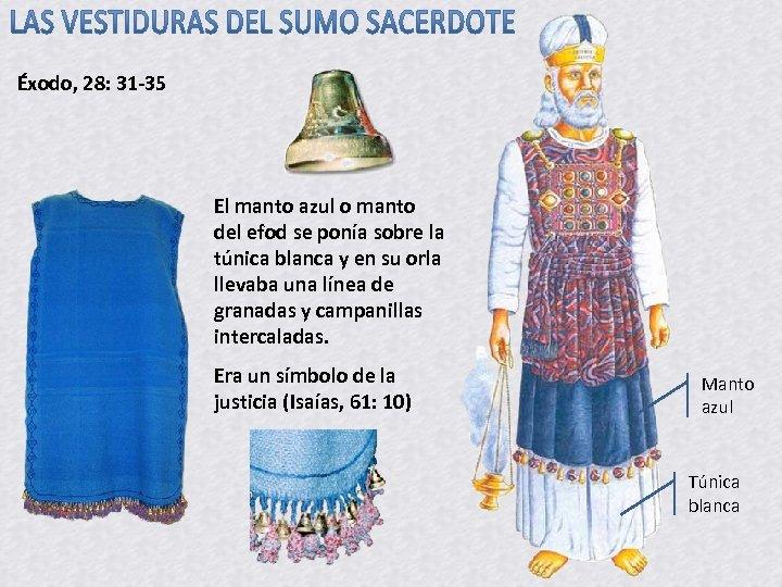 Éxodo, 28: 31 -35 El manto azul o manto del efod se ponía sobre