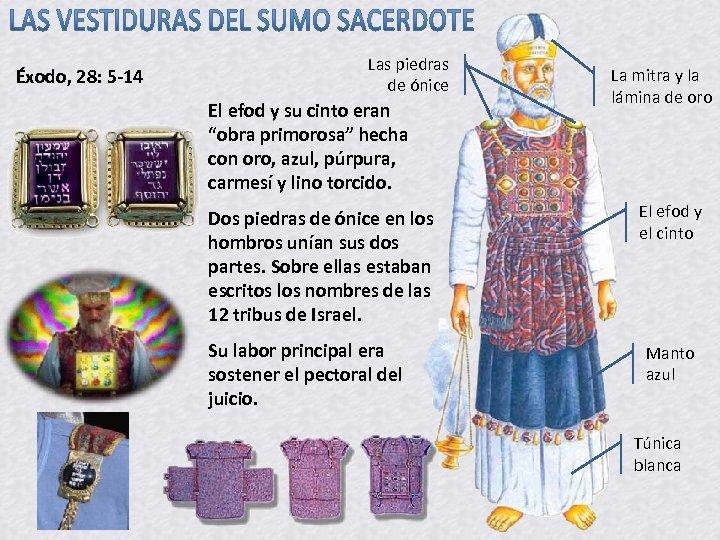 Éxodo, 28: 5 -14 Las piedras de ónice El efod y su cinto eran
