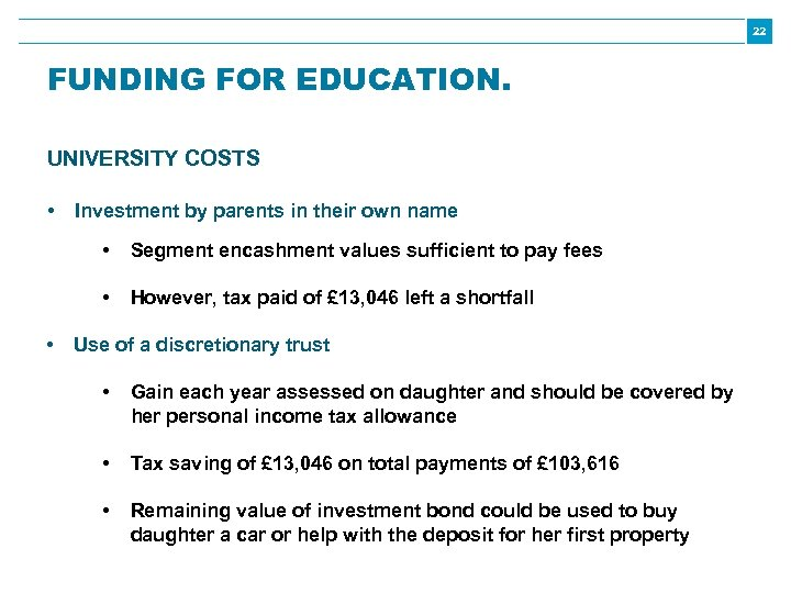22 FUNDING FOR EDUCATION. UNIVERSITY COSTS • Investment by parents in their own name