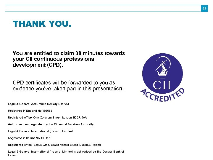 23 THANK YOU. You are entitled to claim 30 minutes towards your CII continuous
