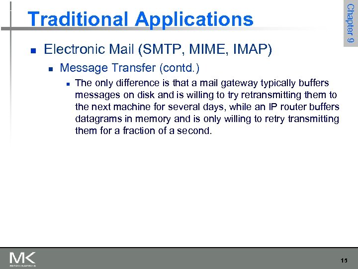 n Electronic Mail (SMTP, MIME, IMAP) n Chapter 9 Traditional Applications Message Transfer (contd.