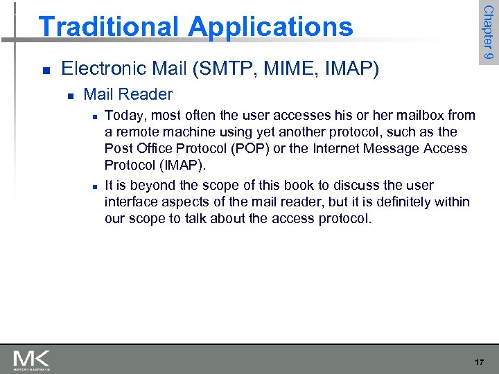 Chapter 9 Traditional Applications n Electronic Mail (SMTP, MIME, IMAP) n Mail Reader n