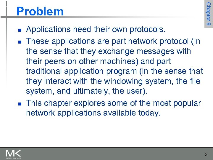 n n n Applications need their own protocols. These applications are part network protocol