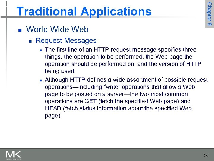 n World Wide Web n Chapter 9 Traditional Applications Request Messages n n The